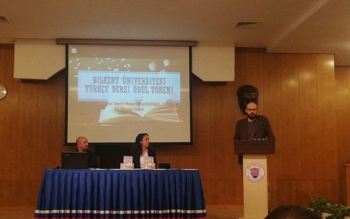 Levent Cantek. Bilkent Üniversitesi Türkçe Dersi Ödül Töreni. 29 Kasım 2019.
