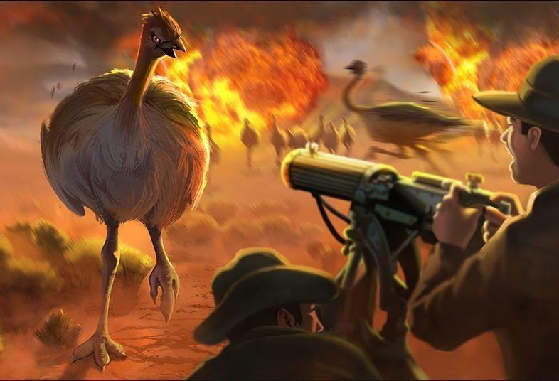 Büyük Emu Savaşı'nı temsil eden bir görsel