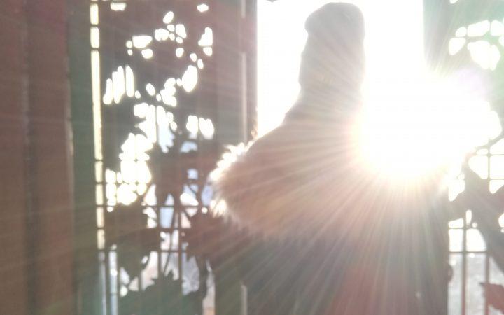 29.01.19. Kapıdan dışarıyı seyreden bir kız. KORE/jogyesa Tapınağı